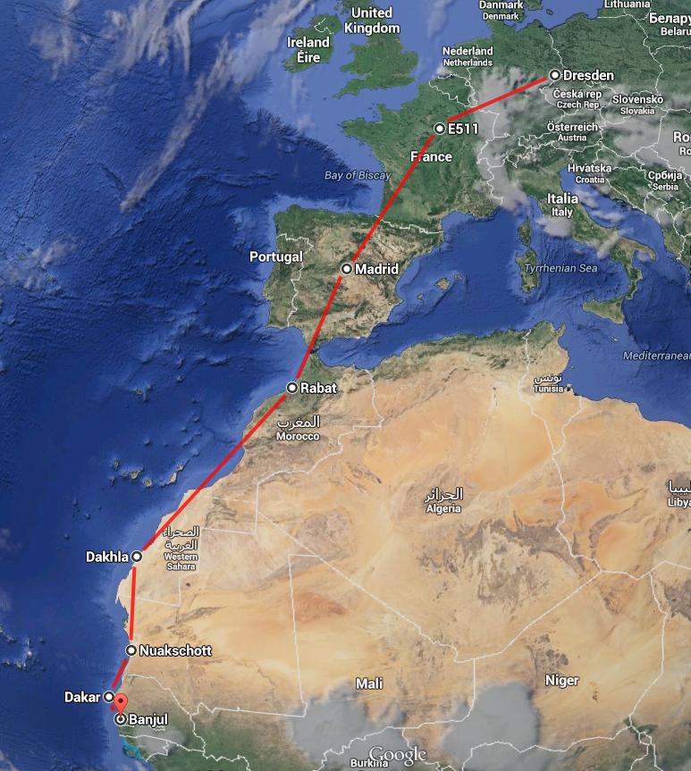 Route Dresden-Dakar-Banjul
